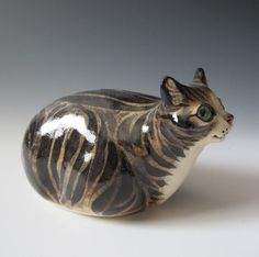 Gray Tabby Cat Ceramic Sculpture and Rattle by MaidOfClay on Etsy