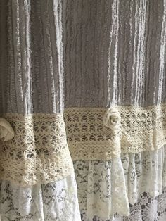Lace Ruffle Shower Curtain Grey Chenille - Hallstrom Home - 1