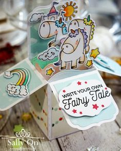Create your own fairy tale box card created using My Favorite Things BB Magical Unicorns stamp and die set.
