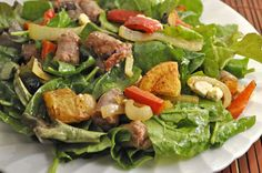 Salad with Sausages, Peppers, Lemon and Potatoes, a twist to a favorite summer meal of grilles sausages, potatoes and peppers Sausage Potatoes And Peppers, How To Cook Chicken, Cooked Chicken, Green Beans, Green Onions, Cracked Pepper, Steamed Broccoli, Seaweed Salad, Summer Recipes