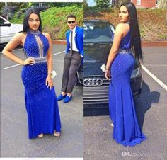 2016 Sexy Mermaid Evening Dresses Wear High Neck Crystal Beads Keyhole Neck Illusion Royal Blue Chiffon Long Formal Party 2k16 Prom Gowns Online with $129.65/Piece on Yes_mrs's Store | DHgate.com