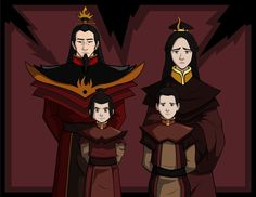 Another Fire Nation Royal Family portrait. This time of Ozai and his family. Ozai's era as Fire Lord lasted for 5 years. Avatar Kyoshi, Avatar Legend Of Aang, Korra Avatar, Team Avatar, Legend Of Korra, Avatar The Last Airbender Funny, The Last Avatar, Avatar Airbender, Cartoon Network
