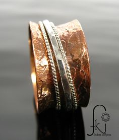 Copper Spinner Ring with Sterling Silver Rope and Hammered Spinners, Handcrafted and Etched Band, Size 7 by FKJewelryDesigns on Etsy