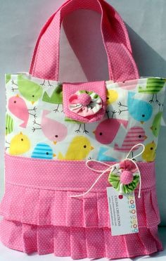 Girls Tote Bag Spring Birdies Ruffled by CelineCreations on Etsy, $14.00 (Scripture tote)