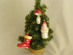 Vintage Lot of Three Christmas Ornaments Santa Boot, Snowman and Mushroom by parkie2 on Etsy