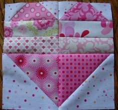 Great way of making heart blocks how nice would this be on the back of a baby quilt? gotta do it!
