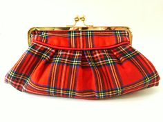 pleated boho clutch rare 70's vintage Royal Stewart by BoudicaBags