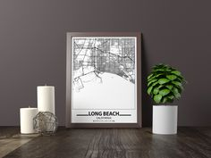 Excited to share the latest addition to my #etsy shop: Long Beach map print, Minimalistic wall art poster, California gifts, Birthday Gift, For father, Father Black And White Wall Art, Black And White Posters, Artwork Prints, Poster Prints, Bathroom Artwork, Map Wall Art, Map Art, Long Beach Map, Long Beach City