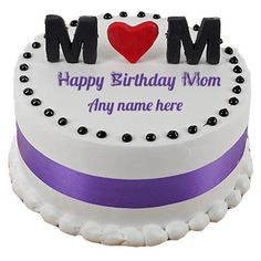 Mom Name birthday purple and white cake image with name. White ad purple decorated round shape cake pictures edit with Mom name. Free Create Happy birthday cake with Mom name. Write your mom on birthday Cake Pictures online and sh Happy Birthday Cake Writing, Mother Birthday Cake, Golden Birthday Cakes, Birthday Cake Write Name, Happy Birthday Mommy, Image Birthday Cake, Happy Birthday Wishes Cake, Birthday Sheet Cakes, Birthday Cake With Photo