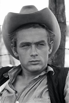 lottereinigerforever: James Dean on the set of Giant, 1955
