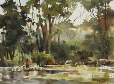 ... Chienchungwei Art, Watercolor Landscape, Watercolor Trees, Chien Chung