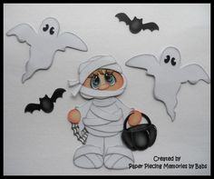 Halloween Mummy Set Premade Paper Piecing for Scrapbook Pages by Babs #Unbranded