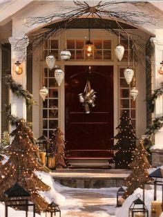 we are here to provide you ideas about Christmas porch decoration.So without further ado here are our 25 Amazing Christmas Front Porch Decorating Ideas Porch Christmas Lights, Front Door Christmas Decorations, Christmas Front Doors, Decorating With Christmas Lights, Front Door Decor, Porch Decorating, Decorating Ideas, Decor Ideas, Christmas Trees