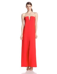 Joice Strapless Split Neck Evening Gown by BCBGMAXAZRIA