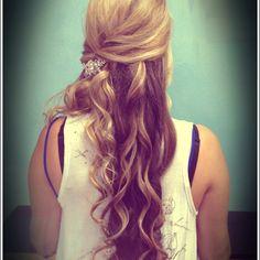 Long hair half updo