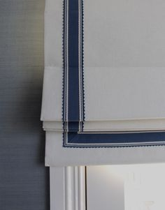 Trim detail on my Master Bedroom roman blind. Gallerie B Interiors.