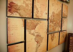 DIY World Map Wall Art; helps you think of perspective, youre just a little person in this whole world of people. DIY World Map Wall Art; Inspiration Wand, Decoration Inspiration, Decor Ideas, Diy Wall, Wall Decor, World Map Wall Art, Map Globe, Deco Originale, Metal Tree Wall Art