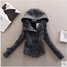 European Style Slim Fit Double Breasted Wool Short Pea Coats For Woman Winter Fashion 2013 Hoodies Tweed Jackets Free Shipping US $39.90