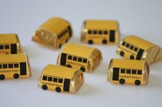 "Hershey Nugget School Bus treats (printable available) would be cute favor at ""Back to School"" party"