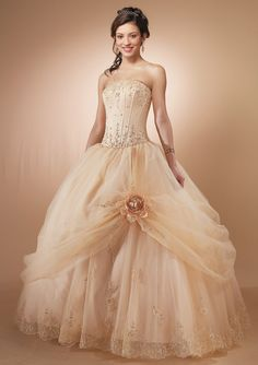 ball gown style wedding dress yellow | ... Empire Boned Bodice Pick up Floor Length Ball Gown Quinceanera Dress