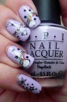 ลวดลายดูน่ารักมากเลย พื้นเล็บสีม่วงพาสเทล แล้วติดสติ๊กเกอร์ลายเส้นสายรุ้งสวยๆ... Cute Nail Art Designs, Nail Polish Designs, Rainbow Nail Art, Rainbow Star, Nagellack Design, Pointed Nails, Manicure Y Pedicure, Get Nails, Fabulous Nails