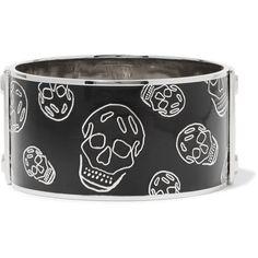Alexander McQueen Silver-Tone Enamel Bracelet ($180) ❤ liked on Polyvore featuring jewelry, bracelets, black, alexander mcqueen, enamel jewelry, alexander mcqueen jewelry, alexander mcqueen bangle and skull jewellery