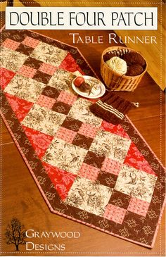 table runner quilt pattern | Double Four Patch Runner | graywood designs