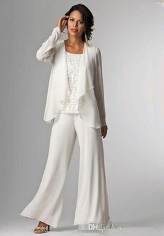 6f18fa13b36fd White Chiffon Mother Of Bride groom Pant Suit For Wedding Long Sleeves Plus  Size Formal Women Evening Occasion Gown Custom Made Cheap