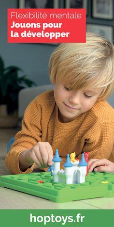 La flexibilité de la pensée se produit lorsque les enfants sont capables de penser différemment. S'adapter au changement, c'est abandonner l'ancienne façon de faire pour en adopter une nouvelle. Chez Hop'Toys, nous encourageons la flexibilité mentale des enfants par le jeu. Découvrez ici une sélection de jeux adaptés pour développer cette compétence indispensable pour apprendre à s'adapter en toute circonstance. Logic Games, Single Player, Jouer, Inventions, Challenges, Logo, Kids Education, Educational Toys, Adhd