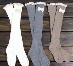 FLASH SALE: Womens Boot Socks, Lace Boot Socks, Knee High, Boot Socks, Legwarmers, Socks, Knitted Socks, Bow Knit Socks, from myfashioncreations on Etsy. #bow #lacesocks #kneehighsocks #bootsockaddiction #socks #bootsocks.