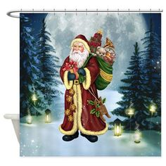 Santa Claus In The Forest Shower Curtain