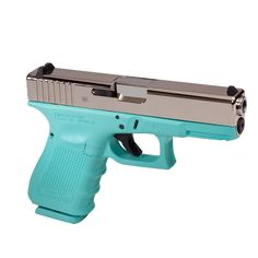 A Tiffany Blue Inspired Glock frame with a high polished slide for one of our customer's