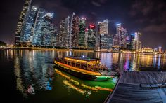 Download wallpapers Singapore, skyscrapers, bay, night, Asia, ship, Singapore River