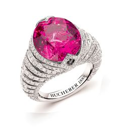 SPARKLER Pear cut rose spinel ring with lots and lots of diamonds, price on request.