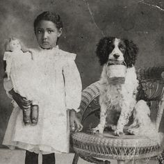 Photos of 19C American pets with their owners - check out the doll...