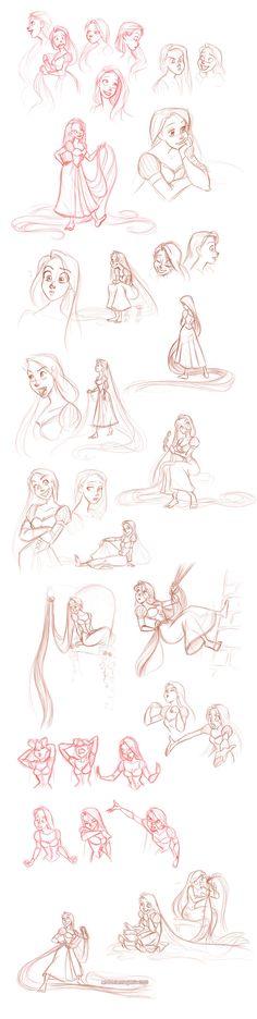 Disney: Disney Princesses: Disney Sketch: Rapunzel: rapunzel sketchdump by briannacherrygarcia.deviantart.com on @deviantART