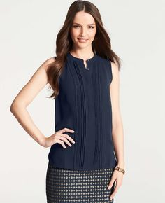 Embroidered Split Neck Shell. Ann taylor