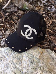 Black Trucker Hat Trucker Caps Rhinetone by Stylishvintagedesign Black  Trucker Hat d0686c8e0f70