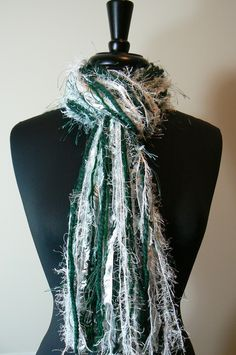 New York Jets, Michigan State Spartans - Football Scarves College Scarfs - Hunter Green and White. $29.95, via Etsy.