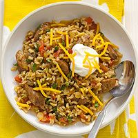 Mexican Brown Rice Casserole Recipe - 6 servings, 6 PP/serving - modifications: reduce sausage to 8 oz., toppings per serving: 1 Tbsp. non-fat Greek yogurt, 1 oz. Crock Pot Slow Cooker, Crock Pot Cooking, Slow Cooker Recipes, Crockpot Recipes, Chicken Recipes, Cooking Recipes, Cooking Turkey, Recipe Chicken, Low Carb Crockpot Chicken