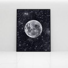 Moon art print stars and full moon galaxy wall by PrintsOfHeart