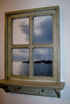 "Shabby Chic Hand Crafted Faux Window Picture Frame, 20"" x 26"" has a 4"" shelf at the bottom and 2 wood pegs. Photo was taken off the Eastport Bridge in Annapolis, MD (Your photos or ours) $64.99"