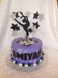 Dancer silhouette cake, purple and black