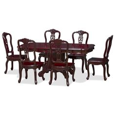 Cherry Rosewood French Dining Set with 6 Chairs
