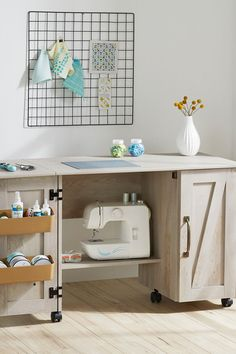 Modern Farmhouse Wood Sewing Table. #rustic #farmhouse #wood #sewing #crafting #crafts #sewingtable #sewingtableideas #table #desk #multifunctional #craftcart