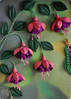 Handicraft product Quilling Paradise bird and fuchsia stripes Photo Paper 4