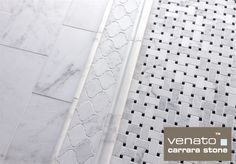 """Carrara Venato collection. Here you can see 8x16"""", then it goes into 6x12"""" (which is $8.00 Sq.Ft.) then a chair rail and then our Basketweave with Nero Marquina Dot for $10.95 Sq.Ft. but also available with Bardiglio Gray dot for $11.75 Sq.Ft. and Free Shipping thru April 2016."""