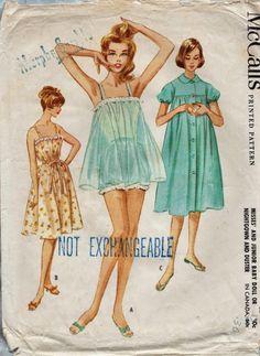 McCalls 5613 / Vintage Lingerie Sewing Pattern / Babydoll