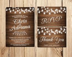 Boda invitación rústica de invitación de boda por DigitalLine