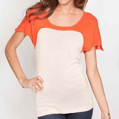 Color Block Shirt Orange